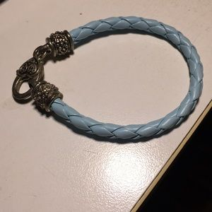 Jewelry - Blue braided leather silver hardware bracelet